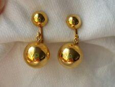 Tone Balls Fun Fashion Retro Vintage Clip Earrings Dangle Gold