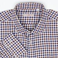 Luciano Barbera Mens Shirt XXL Brown Blue White Check Plaid Cotton Button MOP