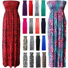 Women's Ladies Sheering Bandeau Boob tube Gather Strapless Summer Maxi Dress