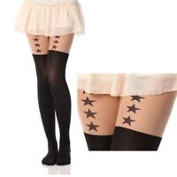 Women Girls Tattoo Socks Cute Cat Sheer Pantyhose Mock Tights Stockings Black