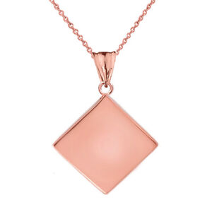 Solid 10k Rose Gold Simple Diamond Shaped Pendant Necklace