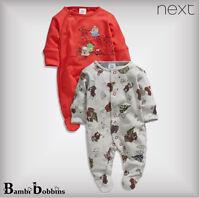 SALE - NEXT Christmas Baby Boys Newborn First Size 2 Pk Sleepsuit Babygrow Santa