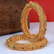 Indian Bollywood Style Bangle Gold Tone Bracelet Ethnic Wedding Polki Jewelry