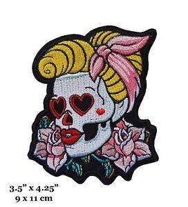 Rockabilly Girls Pin Up Skull Face With Flowers Embroidered Iron On Patch