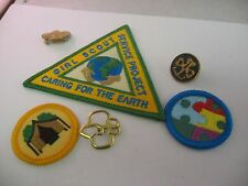 A Set Lot of Vintage Girl Scout Items Pins Badges Caring for the Earth