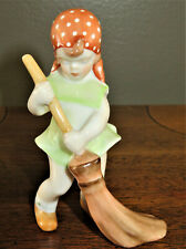 HEREND Porcelain Figurine Hungarian Little Girl Spring Cleaning w Broom 5835