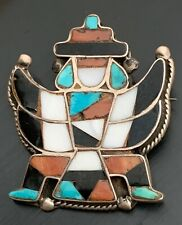 Pin, Jet, Coral, Mother-Of-Pearl Vintage Zuni Knifewing God Turquoise