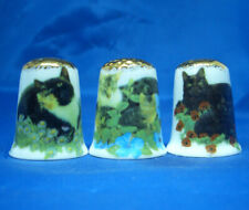 Birchcroft Thimbles -- Set of Three - Garden Cats Gold Top