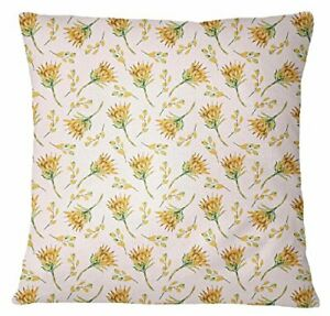S4Sassy Yellow Bed Pillow Case Floral Print Pillowcases Square Cushion-FqL