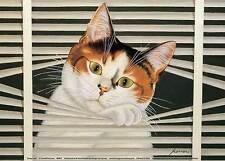 SASSY LARA ART PRINT BY LOWELL HERRERO whimsical cat in window blinds poster