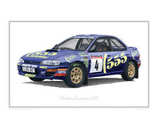 Subaru Impreza 555 Rally - Limited Edition Classic Car Print Poster by Steve Dun