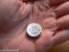 Tiffany & Co Silver 1837 Circle Concave Necklace Pendant Charm Chain Rare