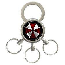 RESIDENT EVIL UMBRELLA Metal chrome Key chain includes 3 key rings for Gift NEW
