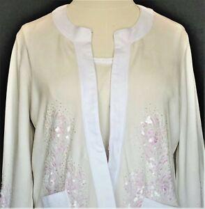 Randolph Duke Sweater Jacket & Tank Top NEW Co-Ord Set Ivory Silk Blend Trim 2X