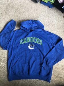 Vancouver Canucks Youth Hoodie Blue Hooded Sweatshirt Hockey Boys Kids XL Hockey