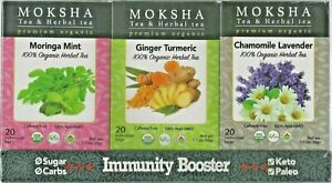Moksha Immunity Booster  Pack Moringa Mint, Ginger Turmeric, Chamomile Lavender