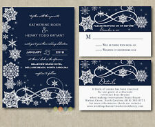 100 Personalized Winter Snowflake Navy Wedding Invitation Suite with Envelopes