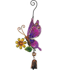 Purple Butterfly Ornament Glass Metal Hanging Bell NEW door chime garden flower