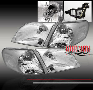 MONTANA/VENTURE/TRANS SPORT/SILHOUETTE REPLACEMENT CHROME HEADLIGHT LAMP +CORNER