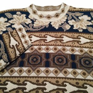 Abstract Statement Sweater Multicoloured Knit Filigree Pattern Bold VTG Cosby L