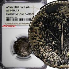 HAITI Silver AN 26 (1829) 50 Centimes J.P.BOYER NGC AU DETAILS Toned KM# 20