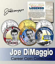 JOE DIMAGGIO YANKEES NEW YORK STATEHOOD QUARTER 3-COIN CAREER SET! SIGNATURED!!