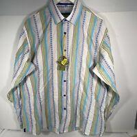 Visconti Uomo Mens Flip Cuff Button Cotton Long Sleeve Shirt L 3220