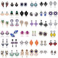 Fashion Elegant Crystal Rhinestone Ear Clip Stud Dangle Drop Earrings Jewelry