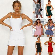 Women's Strappy Summer Sleeveless Mini Dress Holiday Beach Party Short Sundress