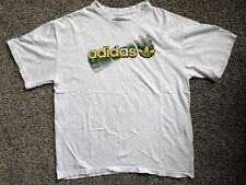 Vintage Adidas Tee Mens Size Large Shirt White Green Yellow Logo Graphic