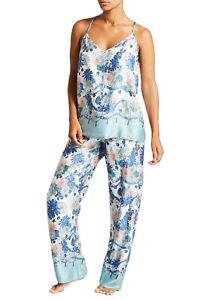 Blue Floral Lace Back Camisole Pyjamas