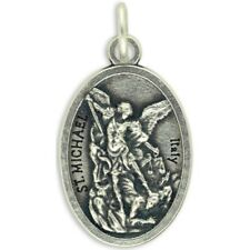 """Saint Michael Bless and Protect Our Police Medal w/ 18"""" Rubber Necklace NEW"""