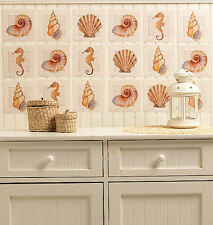 WALLIES SEASHELLS wall stickers 24 decals bathroom decor shells sea beach shore