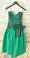 Vintage 80s NWT GUNNE SAX Jessica McClintock Prom Party Dress Black Green size 5