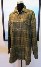 "VTG 60s Pendleton Green Plaid Wool Surf Board Shirt L/46"" MINT"