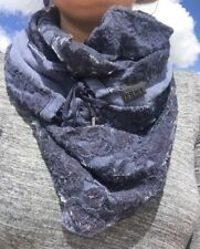 NWT DIESEL Slaces Scarf Navy Blue Two Layers Cotton Blend $128