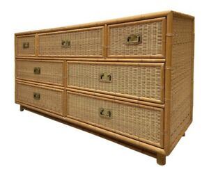 STUNNING BAMBOO AND WICKER DRESSER WITH BRASS PULLS