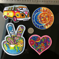 4X Hippie Love Bus Flowers peace Applique 60s Art Embroidered Iron Sew on Patch