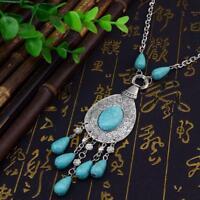 Ethnic Women Bohemian Turquoise Beads Tassel Statement Choker Necklace Chain