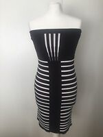 River Island Ladies Black & White Stretch Bodycon Dress Size 14 EUR 40