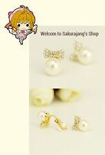Fashion Korean Style Pearl Bowknot Wrap Ear Cuff Earring Clip On No Piercing