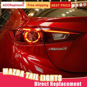 For Mazda 3 LED Taillights Assembly Red LED Rear Lamps 2014-2018