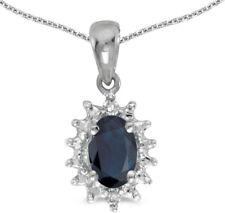 14k White Gold Oval Sapphire and Diamond Pendant (no chain) (CM-P1342XW-09)