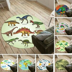 Cute Dinosaur Kids Round Area Rug Carpet Bedroom Living Room Chair Mat Decor