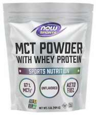 Now Foods MCT POWDER + Whey Protein Keto Weight Loss Energy 50 Serves UNFLAVORED
