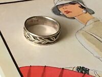 Mid century Band leaves design silver Ring Size K1/2 Art Deco design