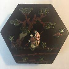 Antique Lacquer Ware Asian Box w/ Lid Inlaid Garden Scene