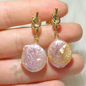 Multi-Color Baroque Pearl Earring 18k Ear Stud Irregular Flawless Cultured