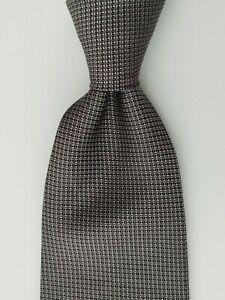 LAUREN RALPH LAUREN Men's 100% Silk Necktie Silvery Gray Grenadine EUC