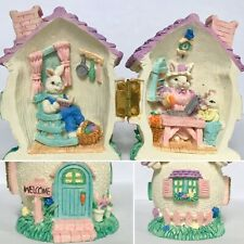 Easter Diaorama Hinge Bunny Family Home Sweet Home Collectible Egg House Welcome